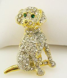 "Kenneth Jay Lane Pave Puppy  Pin    Goldtone    1 3/8"" #KennethJayLane"