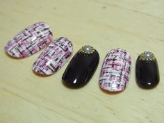 How to create a tweed motif nail using a special techniqueマル秘テクニック教えます パラジェルでスポンジと細筆で作る繊細ツイードネイル作り方 - YouTube