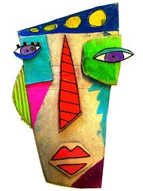 In the style of Kimmy Cantrell Kunst Picasso, Art Picasso, Club D'art, Art Club, Kimmy Cantrell, Arte Elemental, Cardboard Mask, Diy Cardboard, Classe D'art
