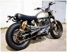 Harley Sportster Scrambler 1988 by Crazy Garage Sportster Scrambler, Harley Scrambler, Harley Davidson Scrambler, Triumph Scrambler, Cafe Racer Motorcycle, Motorcycle Types, Motorcycle Design, Custom Harleys, Custom Bikes