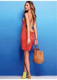 In Stock Elegant  Stylish Orange  Criss-cross  One Piece Beach Dresses Swimwear
