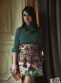 Skirt with (Rafia?) Tassels