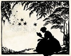 Papercut Art - Magic Book - Reading Literary Folk Art - Woodland Whimsical Silhouette - Elegant Nursury Art Vintage Fairy Tale
