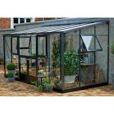 Serre Veranda adossée 9.8m² aluminium laqué anthracite et verre trempé 3mm - Juliana, Serre de jardin en verre