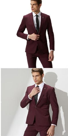 Fashion men suits wine red groom suit men's formal suits 2017 a button slim male wedding men suit custom made (coat and pants) Mens Fashion Wedding Suits, Wedding Suit Styles, Best Mens Fashion, Suit Fashion, Wedding Men, Formal Wedding, Wedding Ideas, Male Fashion, Wedding Groom