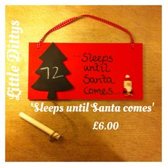 Christmas countdown plaque, with chalkboard and chalk