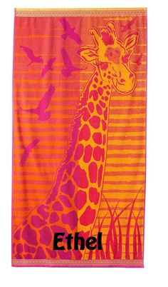 """LARGE GiraffeTurkish Cotton Beach Towel 34"""" x 64"""" - Personalized by CACBaskets on Etsy Oversized Beach Towels, Trending Outfits, Handmade Gifts, Prints, Cotton, Etsy, Vintage, Kid Craft Gifts, Craft Gifts"""