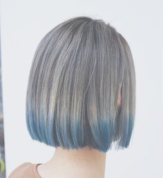 Bob Hair Color, Hair Color Streaks, Hair Color Highlights, Korean Hair Color, Blue Ombre Hair, Asian Short Hair, Hair Shows, Aesthetic Hair, Ulzzang Hair