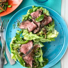 Lettuce Tacos with Sesame Beef -- you won't even miss the tortilla in this flavorful, low-carb Asian-fusion dish