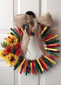 Fall cloths pin wreath More