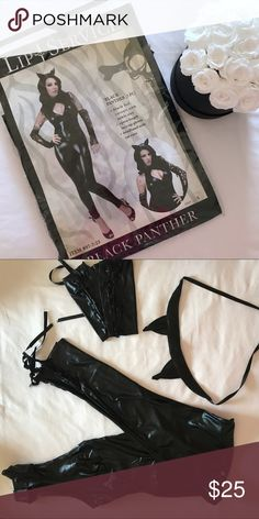 Black Cat Halloween Costume Halloween Sale! 🎃 Will ship immediately! Like new. Worn once for a party. Comes with lace up catsuit, lace up gloves, and cat ear headband. Fabric is shiny and looks very sleek and sexy! Lip Service Other