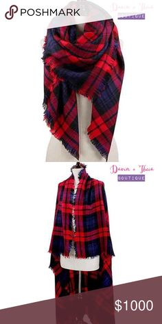 """🌟Plaid Square Blanket Scarf Red/Navy🌟 🌟BRAND NEW🌟  Very soft and cozy plaid square blanket scarf. Perfect addition to your fall & winter outfit! Dimension approximately 55""""x55"""".   Color: Red/Navy Fabric: Acrylic  💟PRICE is FIRM 💟10% OFF BUNDLE 💟NO Trades Davin+Theia Accessories Scarves & Wraps"""