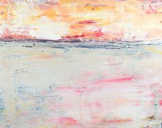 Art on Sale Original Acrylic Landscape Painting. Abstract Art Painting. Home Wall Decor. Pink Sunrise. Art Gift for Wife. Apartment Decor
