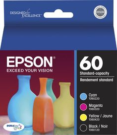 Epson - 60 4-Pack Ink Cartridges - Cyan/Magenta/Yellow/Black (Blue/Pink/Yellow/Black)
