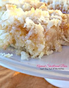 Apricot Shortbread Bars | Can't Stay Out of the Kitchen | these luscious shortbread cookies are filled with apricot jam and coconut.
