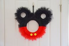 Mickey Mouse Tulle Wreath by LoveNestBoutique on Etsy Mickey Mouse Classroom, Disney Classroom, Mickey Mouse Clubhouse, Mickey Mouse Birthday, Minnie Mouse Party, Classroom Door, Mickey Mouse Wreath, Mickey Party, Mickey Minnie Mouse