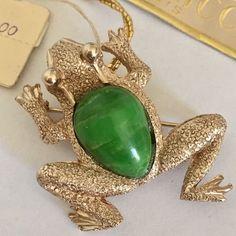 Vintage Frog Brooch New w Tags Nina Ricci Paris Chris Stevens Bergere Green Pin #NinaRicci
