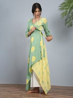 Peshwa pastel angrakha - tie and dye tunic Simple Kurti Designs, Kurta Designs Women, Kurti Neck Designs, Kurti Designs Party Wear, Blouse Designs, Kurtha Designs, Stylish Dresses, Simple Dresses, Fashion Dresses
