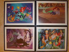 Little Mermaid Ariel Disney Set 4 Framed Pictures New Lithographs | eBay