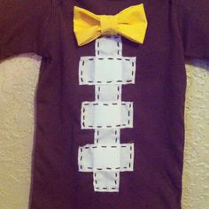 My sister makea these in diff sizes and colors! Super cute. Short sleeve football baby boy outfit with bow tie in by Layne2010, $24.00
