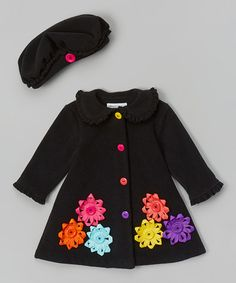 Look at this #zulilyfind! Black & Rainbow Flower Hat & Coat - Infant, Toddler & Girls by Gerson & Gerson #zulilyfinds