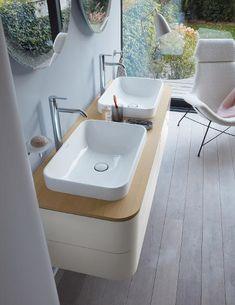 Duravit Happy Plus washbasin and bathroom furniture Industrial Bathroom Design, Modern Bathroom Design, Industrial Style, Modern Design, Bathroom Designs, Bathroom Ideas, Grey Bathroom Tiles, Next Bathroom, Duravit