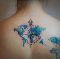 Watercolor travel tattoo by G.NO