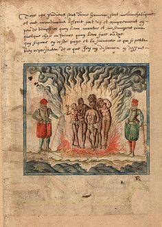 Indians burned by the Inquisition. From Samuel de Champlain, Brief discours, 1598-1601