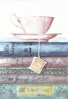 Original watercolor painting teacup vintage books classic reads Emma Jane Austen secret garden art by HelgaMcL on Etsy Tee Kunst, Art Watercolor, Tea Art, Painting Inspiration, Oeuvre D'art, Garden Art, Garden Drawing, Garden Painting, Book Worms