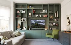 10 Inventive Cool Tips: Contemporary Minimalist Bedroom Bedside Tables minimalist interior bathroom floors.Minimalist Living Room Design Interiors minimalist home white grey. Living Room Wall Units, Living Room Storage, Wall Storage, Home Living Room, Living Room Designs, Living Room Decor, Tv Storage Unit, Media Storage, Living Room Cupboards
