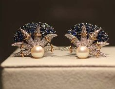 Elizabeth Taylor Exhibition - Jean Schlumberger Sapphire and Diamond Ear Clips