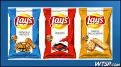 Have you seen the new Lay's Potato Chip flavors?  Cheesy Garlic Bread, Chicken & Waffles, and Sriracha flavored chips are on the grocery store shelves now.  Try them and vote on their website...