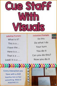 Visuals arent just for students! Staff need visual cues, too. Here are 3 different ideas for using visuals for classroom and therapy staff. These ideas are ideal for special education programs especially those designed for students with autism. Life Skills Classroom, Autism Classroom, New Classroom, Classroom Ideas, Classroom Organization, Special Education Organization, Apple Classroom, Classroom Signs, Classroom Behavior