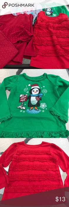 Cute Christmas bundle Super cute outfits to wear all through December. All in excellent condition. The gray shirt has Tony spot as shown in picture. Still looks great on. Let me know if you have any questions. Matching Sets