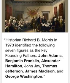 America's Noble Founding Fathers Everyone! John Adams: no job. Ben Franklin: with the key and the kite. Ya see it, right? Alexander Hamilton: bastard, orphan, son of a whore, and a Scotsman. John Jay: got sick after writing five. Thomas Jefferson: he's comin' home. James Madison: a Southern MotherF*ckin Democratic Republican! George Washington: enjoys sitting under fig trees...