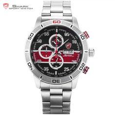 Striped Shark Sport Watch Auto Date Day Stopwatch Relogio Masculino Black Red Dial Steel Band Quartz Men Gents Wristwatch /SH333