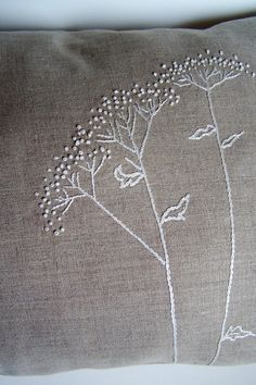 linen hand embroidered beaded pillow by foxearthfarm French Knot Embroidery, Basic Embroidery Stitches, Creative Embroidery, Flower Embroidery Designs, Silk Ribbon Embroidery, Hand Embroidery Patterns, Embroidery Techniques, Cross Stitch Embroidery, Cushion Embroidery