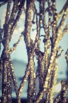 Gold Glitter Branches - Need to use silver for the branch decorations at Anna's birthday party this year!