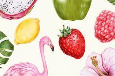 Tropical Flamingo & Fruit Laptop & iPad Skin by newburydesigns Lemon Watercolor, Watercolor Bird, Colorful Fruit, Tropical Fruits, Fruit Illustration, Food Illustrations, Poster Color Painting, Fruits Drawing, Unique Mehndi Designs