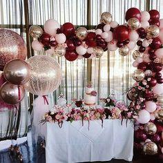 Rose gold, burgundy, pink, balloons