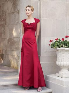 2015 Sweetheart Satin Red Cap Sleeves Lace Up Ruched Floor Length Mother of the Bride Dresses MBD0114