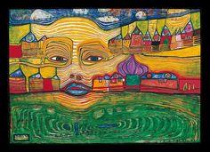Irinaland over the Balkans by Friedensreich Hundertwasser