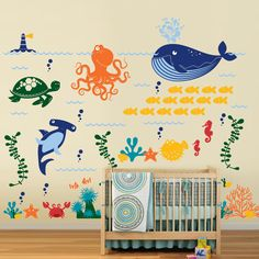 Ocean Friends - Under the Sea Nursery Vinyl Wall Decal $160.00, via Etsy. (Like that I can choose colors for everything, simple yet so cute)