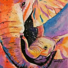 Mother's love  It's a modern water colour painting featuring a mother elephant and her calf. This painting is 100% hand painted.  This could make a wonderful gift for your mom or ur daughter to make her feel loved and cared.