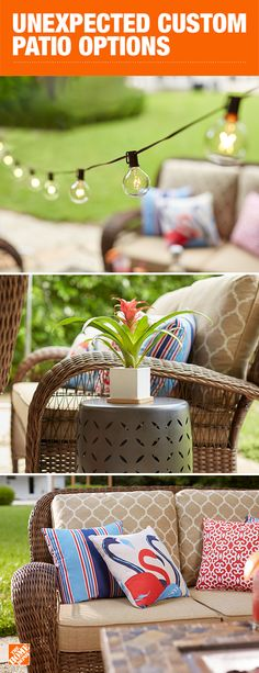 Customizable patio collections give you the flexibility to go as big or small as you'd like and choose the fabric material and color of your choice. Start by choosing a style that appeals to you, then choose the details to design your own patio furniture like a professional. Click to shop all customizable options and start creating your outdoor escape.