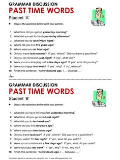 Past Time Words - All Things Grammar English Grammar Worksheets, Learn English Grammar, English Vocabulary Words, Learn English Words, English Writing, English Study, English Speaking Skills, English Language Learning, English Lessons