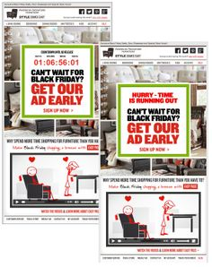 American Signature Furniture used a live countdown clock to show when its Black Friday deals ad circular would be released. After the ad was available, the image in the same email changed to show an updated call-to-action. Embedded video in email played directly in the inbox. #emailmarketing #countdownclock #video #retail #holidayemail #blackfriday
