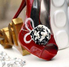 Shoe Clips Damask & Feathers. Beige Ivory Black Pearl Couture, Summer Bride Bridal Bridesmaid. Khaki Tan Nude Bone Neutral Earth Tone. $39.00, via Etsy.