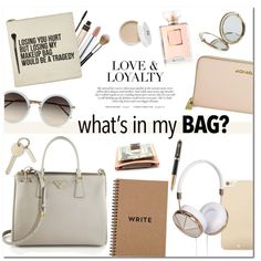 What's in My Bag? by that-chic-girl on Polyvore featuring мода, Prada, Michael Kors, Linda Farrow, Kate Spade, Frends, By Terry, MAC Cosmetics, Chanel and Sephora Collection