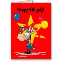 4th of July Independence Day Cartoon Donkey Custom Greeting Card